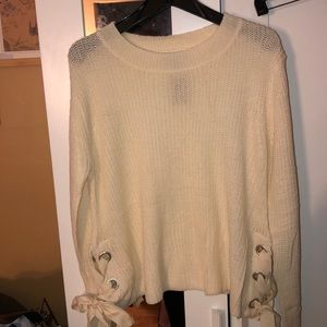 NWT KNIT WITH LOVE LACE UP SWEATER